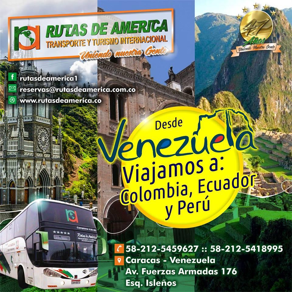 Rutas de América Venezuela a Ecuador