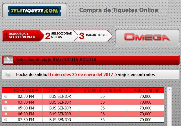 Precio de pasaje de Cúcuta a Bogotá con Omega