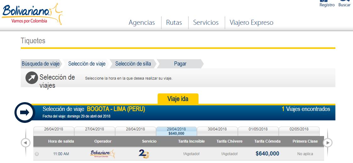 Precios de viajar en bus a Lima desde Bogotá con Bolivariano
