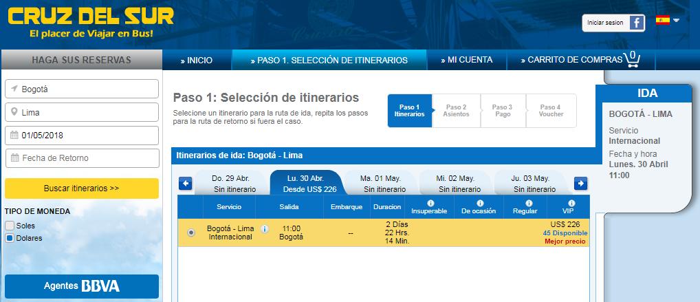 Viajar en bus desde Bogotá a Lima con Cruz del Sur