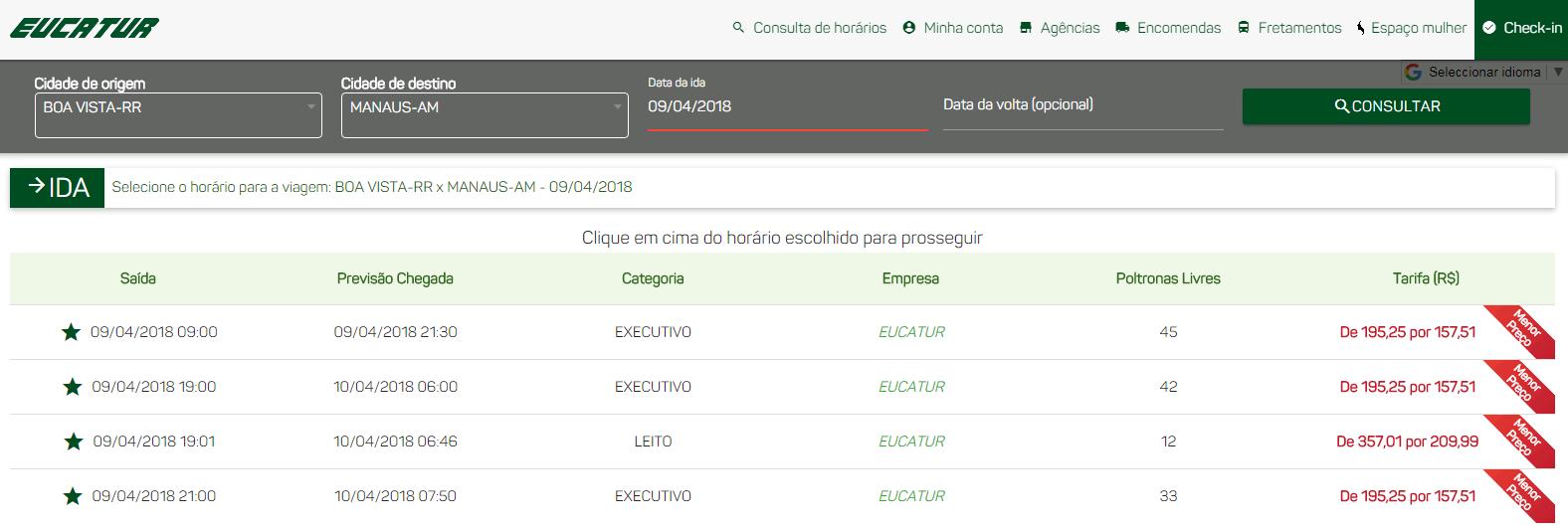 Precios desde Boa Vista a Manaos con Eucatur Abril 2018