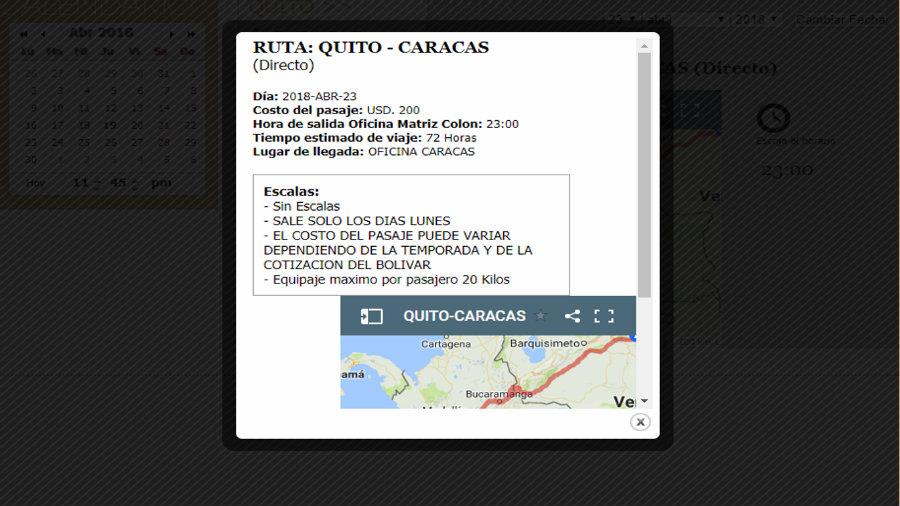 Precios de pasajes para Caracas desde Quito en bus 2018