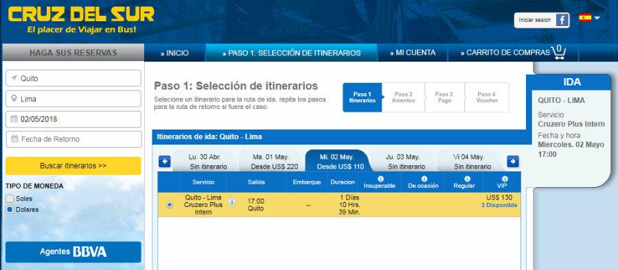Precios pasajes desde Quito hacia Lima con Cruz del Sur