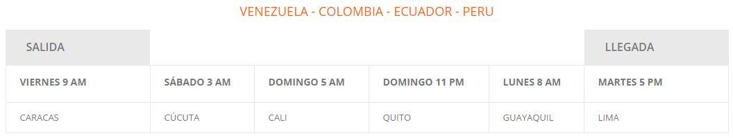 Horas de salida de Rutas de América desde Venezuela
