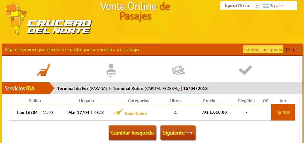 Precios de Crucero del Norte desde Foz do Iguazú hasta Retiro Buenos Aires
