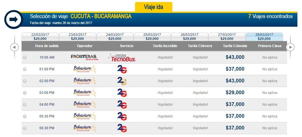 Pasaje desde Cúcuta hasta Bucaramanga