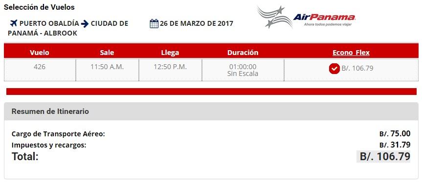 Pasaje desde Puerto Obaldía hasta Ciudad de Panamá con AirPanama