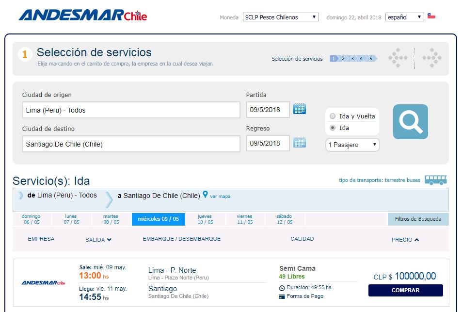 Precios de pasajes en bus desde Lima a Santiago de Chile con Andesmar