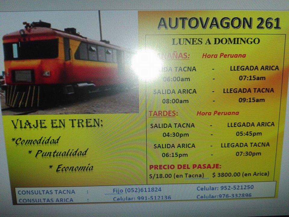 Precios ferrocarril de Arica a Tacna