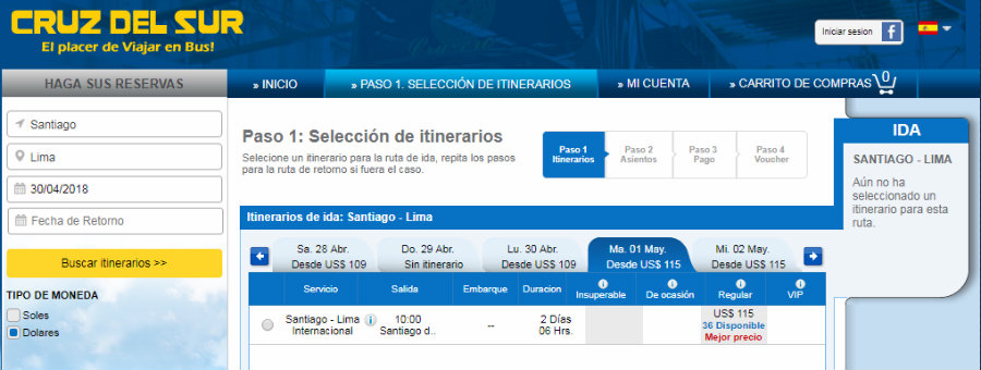 Precios pasajes de Santiago a Lima en bus con Cruz del Sur