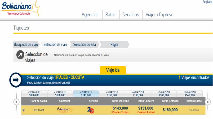 Precios pasajes desde Ipiales a Cúcuta Bolivariano