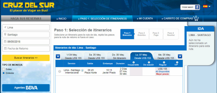 Precios pasajes en bus desde Lima a Santiago de Chile con Cruz del Sur